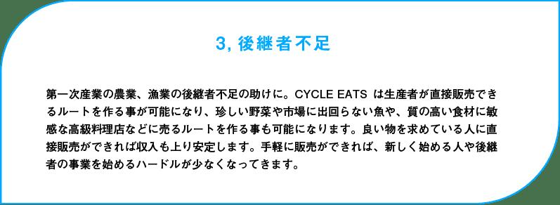 後継者不足:第一次産業の農業、漁業の後継者不足の助けに。CYCLE EATSは生産者が直接販売できるルートを作る事が可能になり、珍しい野菜や市場に出回らない魚や、質の高い食材に敏感な高級料理店などに売るルートを作る事も可能になります。良い物を求めている人に直接販売ができれば収入も上り安定します。手軽に販売ができれば、新しく始める人や後継者の事業を始めるハードルが少なくなってきます。